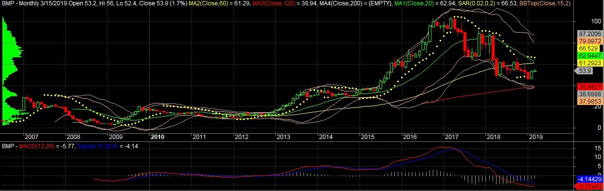 BMP (Monthly): Sau khi đánh mất trend tăng trung hạn, xu hướng giá nhanh chóng tìm về điểm cân bằng quanh vùng MA50